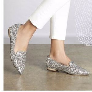 Sole Society Silver Glitter Cammila Flats